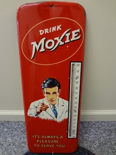 1950's Vintage Moxie Soda Large Tin Thermometer Sign Advertising 962 T | eBay