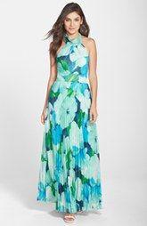 Eliza J Print Chiffon Halter Dress (Regular & Petite)