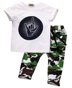 88ca6355a8a5 Children clothing set 2016 summer fashion Letters with short sleeves T-shirt  + camouflage pants kids clothes boys sport suits