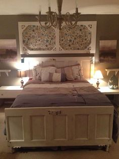 Entire bed made from old doors. Dramatic change for about $60.
