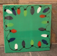 Decorative Hand Painted Resin Canvas Panel Insert in Christmas Lights Design