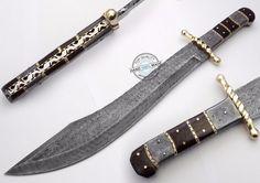 """18.50"""" Custom Made Beautiful Damascus Steel Machete Bowie Knife (AA-0345-4) #KnifeArtist"""