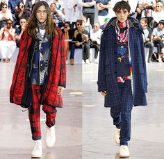 Sacai by Chitose Abe 2016 Spring Summer Mens Runway Catwalk Looks - Mode à Paris Fashion Week Mode Masculine France - Suit Outerwear Long Coat Parka Blazer Pants Trousers Gingham Check Fauna Leaves Foliage Botanical Tropical Frayed Raw Hem Capelet Layers Plaid Tartan Quilted Puffer Boots Windowpane Grid Lattice Shorts Fringes Tassels Stripes Socks Sandals Bomber Jacket Ornamental Cargo Pockets Ruffles