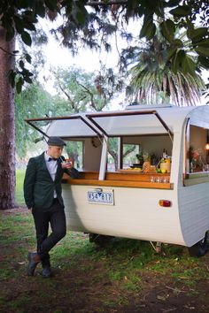 Tom Collins Caravan Bar - Meet Tom Collins, a vintage caravan lovingly renovated into a mobile bar. Available for hire for weddings, engagements, parties, celebrations, business functions and promotional events, Tom Collins can be used to serve cocktails, bubbles, wines, beers, iced refreshments and coffees.
