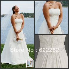 New Chiffon A-line with Beaded Lace on Empire Style plus size wedding dress 2014 bridal gowns fast shipping $128.95 @Ashley Walters Dali  FOUND THE EXACT SAME DRESS FOR 400$ LESS!!!!!