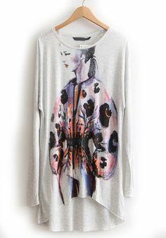 Grey Long Sleeve Watercolor Print Dipped Hem T-Shirt US$21.15