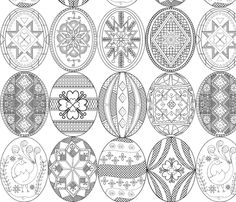 Colorful fabrics digitally printed by Spoonflower - Pysanky, Easter Eggs (larger version; Easter Egg Coloring Pages, Colouring Pages, Egg Crafts, Easter Crafts, Easter Egg Pattern, Carved Eggs, Easter Egg Designs, Ukrainian Easter Eggs, Easter Art