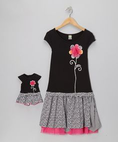 Take a look at this Black Polka Dot Daisy Dress & Doll Outfit - Girls on zulily today!
