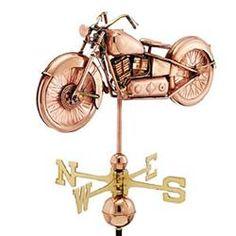 Copper Vintage Motorcycle Weathervane