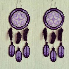Purple dreamcatcher hama beads by sistyria