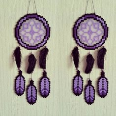 Purple dreamcatcher hama beads by sistyria
