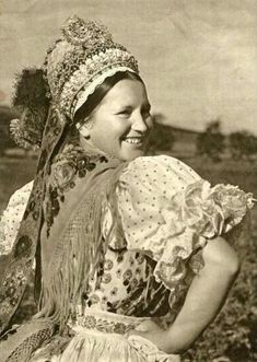 Hungarian folk costume from Kazár, népviselet Art Costume, Folk Costume, Shaman Woman, Bridal Headdress, Retro Pictures, Hungarian Embroidery, Tribal Dress, Folk Dance, Wedding Costumes