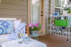 This screened in porch is amazing and has so many inexpensive decor finds and inspiration for creating an inviting outdoor room this summer! Porch Makeover, Screened In Porch, Porch Ideas, Outdoor Rooms, My House, Patio, Table Decorations, Create, Amazing