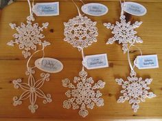 Set of 6 White Quilled Paper Snowflake Christmas by GrandFinaleArt, $40.00