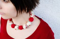 Red Rose necklace  Romantic Necklace by SuddenlyYou on Etsy, $35.00