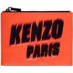 Kenzo Paris Embroidered Leather Pochette (260 RON) ❤ liked on Polyvore featuring bags, handbags, clutches, orange, red purse, orange purse, red leather purse, orange leather handbag and red leather handbags