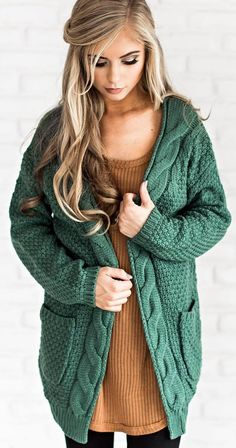 cozy outfit | knit cardi + brown sweater dress + black leggings #omgoutfitideas #fashion #casual