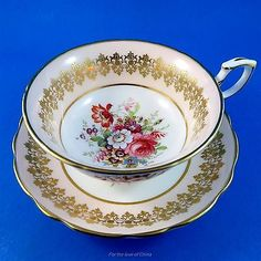 Signed F Howard Floral Center with Peach Border Hammersley Tea Cup and Saucer Se