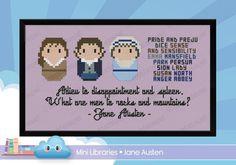 Jane Austen Pride and Prejudice cross stitch from Cloudsfactory.