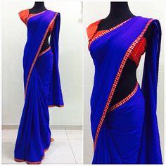 Royal blue georgette saree Price : 99 SGD