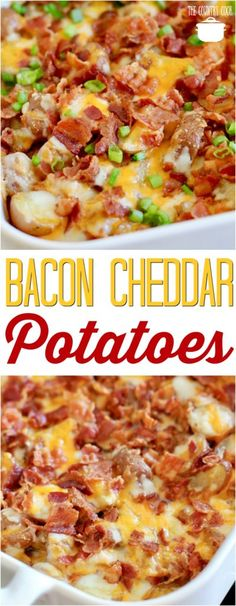 Bacon Cheddar Potatoes recipe from The Country Cook #cheese #bacon #sidedish #potatoes #easy #recipes #ideas