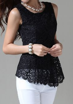 How much do you love this top? This is available in black and white, all sizes- Asymmetric Eyelet Blouse. I love this look for a casual party or for going out with the friends. It's versatile enough. Lace Tank, Crochet Lace, Dress To Impress, Lace Dress, Cute Outfits, Clothes For Women, Stylish, My Style, How To Wear