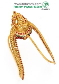 Buy 22K Gold 'Lakshmi' Arm Vanki (Temple Jewellery) - ARMV177 with a list price of $2,176.99 - 22K Indian Gold Jewelry from Totaram Jewelers