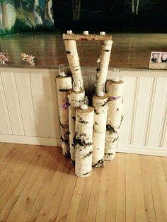 Wood Candle staging Kynttiläteline