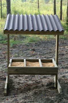These are made out of pressure treated pine x 2 x The trough on. Deer Feeder Plans, Deer Feeder Diy, Cow Feeder, Deer Hunting Tips, Elk Hunting, Hunting Stuff, Whitetail Hunting, Pheasant Hunting, Turkey Hunting