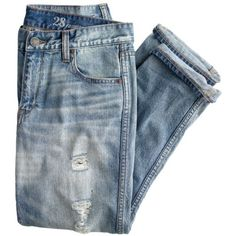J.Crew Destroyed Broken-In Boyfriend Jean (€110) ❤ liked on Polyvore featuring jeans, pants, bottoms, denim, ripped boyfriend jeans, destructed boyfriend jeans, torn boyfriend jeans, blue ripped jeans and straight leg jeans