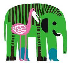 Marimekko Karkuteilla fabric wall art in green, pink, blue, black and white Elephant Illustration, Graphic Illustration, Fabric Wall Art, Fabric Panels, Textile Design, Fabric Design, Etsy Vintage, Marimekko Fabric, Elephant Art
