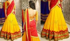 Yellow Red Half Saree by Sony Half Saree Designs, Lehenga Designs, Blouse Designs, Half Saree Lehenga, Kids Lehenga, Lehenga Style, Designer Party Wear Dresses, Indian Designer Outfits, Indian Beauty Saree