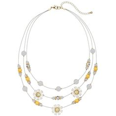 Yellow Bead & Daisy Flower Multi Strand Necklace ($15) ❤ liked on Polyvore featuring jewelry, necklaces, yellow, multiple strand necklace, beading necklaces, multi-chain necklace, yellow flower necklace and beaded flower necklace