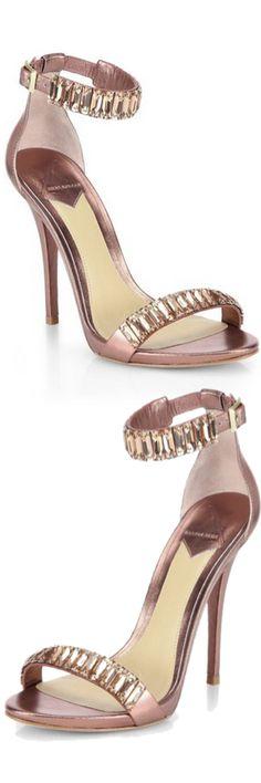 B Brian Atwood Ciara Crystal & Metallic Leather Sandals