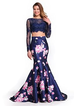 Fancode Women's Beaded Two Pieces Prom Dress With Long Illusion Sleeves Fancode www.amazon.com/...