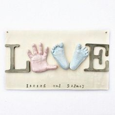 "Sibling Wall Art - Baby Hand and Footprint Love Plaque - ""LOVE"" Wall Decor for Siblings  - Personalized Keepsake Gift - Family Keepsake"