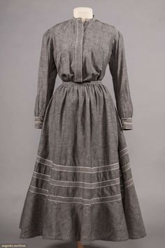 Grey chambray day dress two-piece grey with self-fabric and white band trims, pin tucked bodice, Bust Waist Skirt length Edwardian Dress, Edwardian Fashion, Vintage Fashion, Old Dresses, Vintage Dresses, Vintage Outfits, Work Dresses For Women, Clothes For Women, Historical Clothing