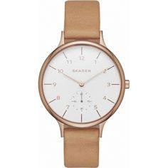 Skagen SKW2405 Ladies Anita Brown Leather Strap Watch