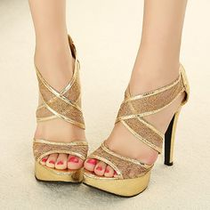 Party Essential Gold Lace Back Zip Closed Cross Strap Stiletto Sandals   martofchina.com-Page Cached