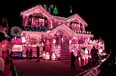 Check out this pink christmas house! Pink Christmas Lights, Christmas Light Displays, Decoration Christmas, Noel Christmas, Holiday Lights, Outdoor Christmas, Winter Christmas, All Things Christmas, Vintage Christmas