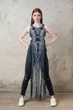 Macrame Dress, Macrame Art, Macrame Jewelry, All Fashion, Fashion Outfits, Fishnet Dress, Bohemian Girls, Plus Size Coats, Modern Outfits