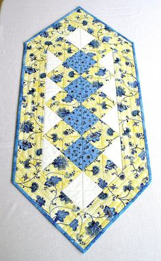 Quilted Table Runner Yellow Blue Table Topper Summer Table