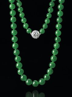 Jadeite Bead and Diamond Necklace. (Est. HK$45 – 55 million / US$5.8 – 7 million;