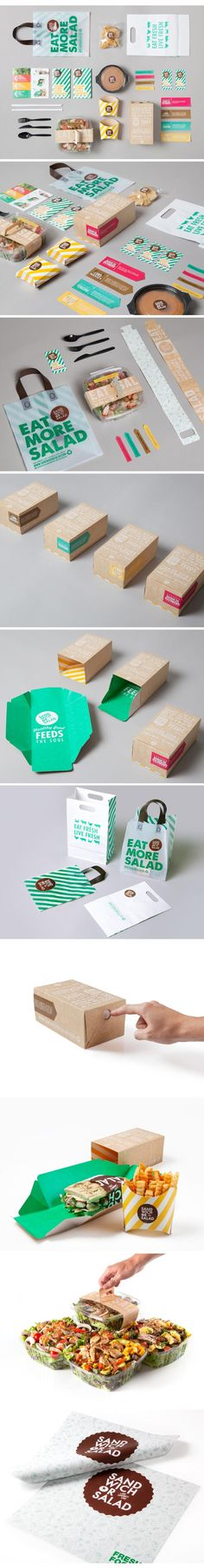 Sandwich Or Salad Brand Identity Packaging Print Blanc Sur Craft Paper Surimpression En Couleur Brand Identity Design, Graphic Design Branding, Corporate Design, Corporate Identity, Logo Design, Print Design, Food Branding, Food Packaging Design, Restaurant Branding