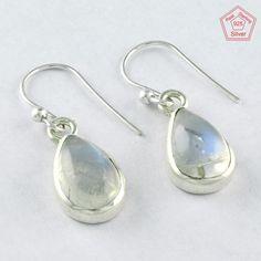 4.1 gm SIIPL - 925 Sterling Silver Rainbow Moon Stone Prestige's Earring 3989 #SilvexImagesIndiaPvtLtd #DropDangle