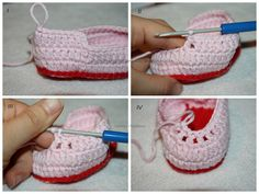 Babyschuhe Romantik - kostenlose Häkelanleitung Mehr You are in the right place about babyschuhe sit Baby Knitting Patterns, Baby Patterns, Crochet Patterns, Crochet Baby Sandals, Crochet Shoes, Baby Ballerina, Handmade Baby Clothes, Baby Sneakers, Patterned Socks