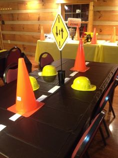 Table decoration - cone with sign/construction hat