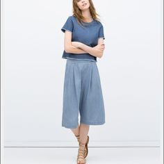 Culottes Jeans Culottes jeans with wide cut, pleated in front. Contrasting piped pockets. Zara Pants Trousers