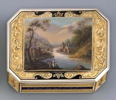 A SWISS ENAMEL AND GOLD SNUFF-BOX Geneva, circa 1800, with the Viennese tax mark of gold 1806/1807, later struck with two French import marks for gold 1864-1893