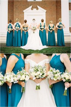 Teal bridesmaids dresses with ivory and green wedding bouquets!